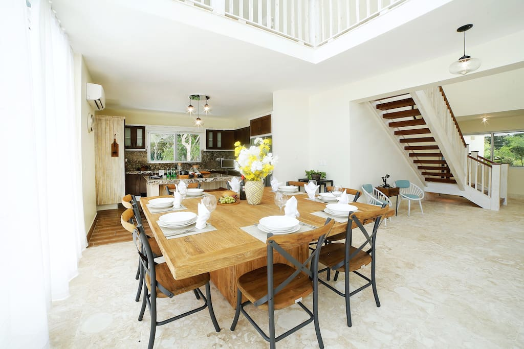 The dining area is ideal for a big group.